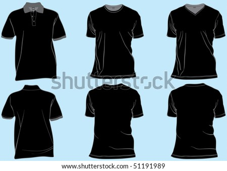 Shirt or golf tshirt set template with collar,v-neck and round neck.Front and back in separate layers easily editable - stock vector