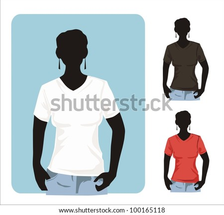 Shirt template with human body silhouette