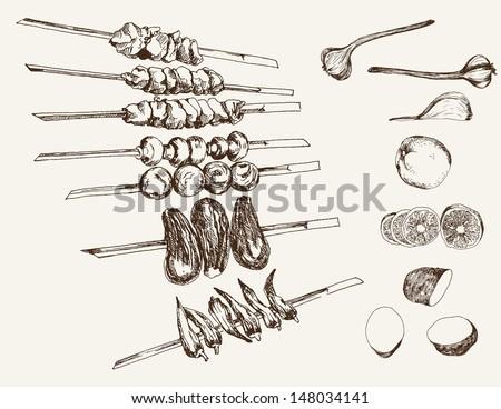 shish kebab on skewers. set of vector sketches