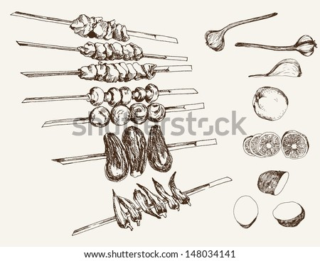 shish kebab on skewers. set of...