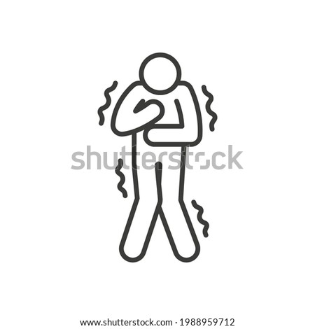 Shiver line icon. Simple outline style. Unwell, weather, ague, black, chill, fever, freeze, grippe, fever chills, ill concept. Vector illustration isolated on white background. Thin stroke EPS 10. Stock photo ©