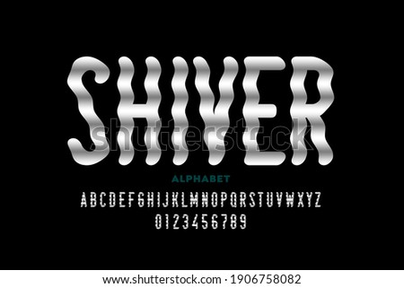 Shiver style font design, alphabet letters and numbers vector illustration Stock photo ©