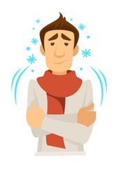 Shivering or trembling man in scarf with cold vector fever and illness or disease symptoms medicine and treatment or healthcare and recovery chill or ague isolated male character and snowflakes.