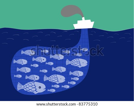 shoal of fish in the boat fishnet