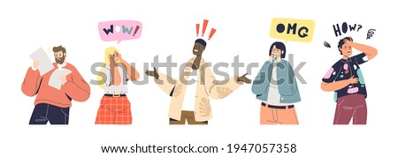 Shock and surprise reactions set. Excited and frustrated cartoon characters with surprised and shocked emotions on good or bad news. Emotional gesturing people. Vector illustration