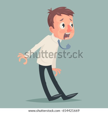 Shock Emotion Fear Horror Depression Stress Businessman Character Icon Retro Vintage Cartoon Design Vector Illustration