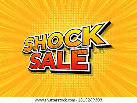 Shock sale on yellow comics background. Shock sale design template.