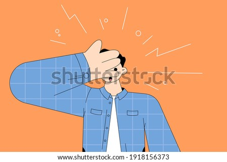 Shock, surprise, feeling embarrassed concept. Young surprised man cartoon character feeling shock covering face and eyes with hand, looking through fingers vector illustration