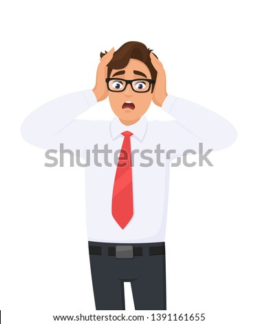 Shocked/amazed young business man holding hands on head and keeping mouth open. Headache pain or stress. Human emotions, facial expressions, feelings concept illustration in vector cartoon style.