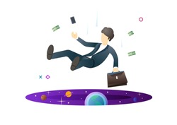 Shocked business man falling down after making work mistake. Man falling in the portal. Finance crisis concept. Modern style vector illustration for landing page, website, banners and presentation.