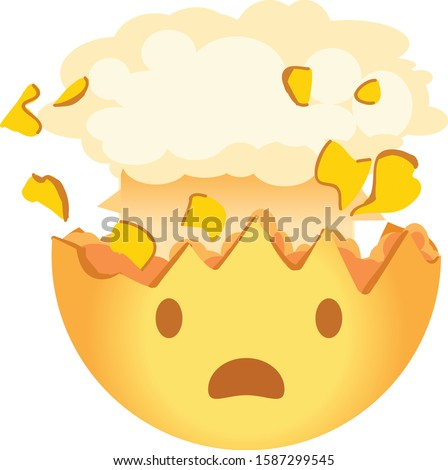 Shocked emoji. Exploding head emoticon. A yellow face with an open mouth and the top of its head exploding in the shape of a brain-like mushroom cloud. Foto d'archivio ©