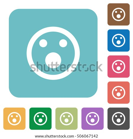 Shocked emoticon white flat icons on color rounded square backgrounds