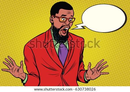 Shocked hipster bearded African American businessman says comic cloud. Pop art retro vector illustration