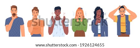 Shocked scared people faces set isolated flat cartoon portraits. Vector man and woman in stress, panicked or terrified characters in horror. Multi ethnic adults in fear, nervous frightened persons Photo stock ©