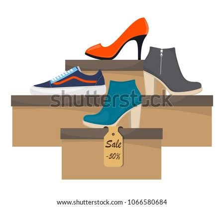 shoe boxes with woman s