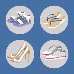 Shoe collection, summer mode, poster with circles images of footwear, flip-flops and sneakers, set of woman items, isolated on vector illustration