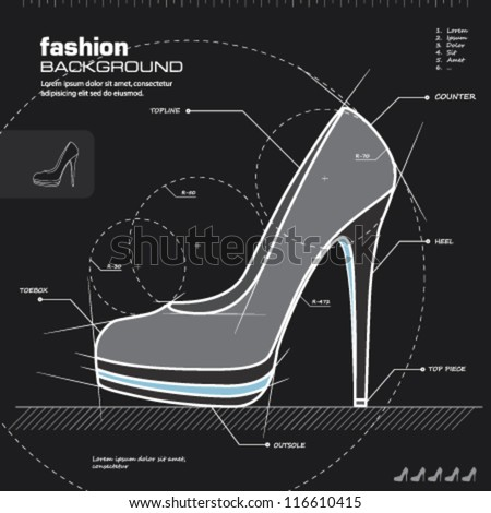 Shoe design. Woman shoes vector. Fashion design background. Vector illustration. Infographics, icon, drawing, sketch, silhouette, blueprint concept.