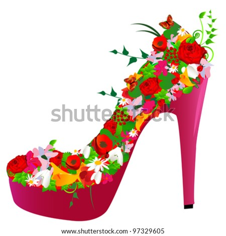 shoe from flowers on white background