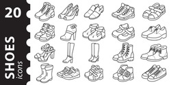 Shoe icon set. men women and children' boots and shoe icons in vector linear style.