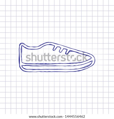Shoe or sneaker, outline linear icon of sport. Hand drawn picture on paper sheet. Blue ink, outline sketch style. Doodle on checkered background