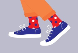 Shoe pair, boots, footwear. Canvas shoes, sneakers with colored socks and jeans. Сolor fashion style high-top and low-top sneakers. Lace-up shoes. Walking. Colorful isolated flat vector illustration.