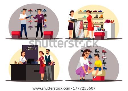 Shoe store scenes set. Man buys sneakers in sports department. Woman tries new shoes, looks in mirror. Couple at checkout pays for purchases. Mom buys shoes for son. Vector character illustration Photo stock ©
