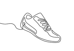 Shoes continuous one line drawing. Sports shoes in a line style. Sneakers isolated on white background. Good for man or woman. Fashionable and casual. Vector minimalistic hand drawn illustration