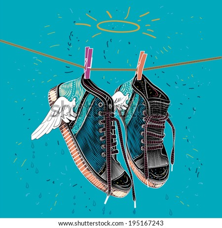 shoes dried illustration