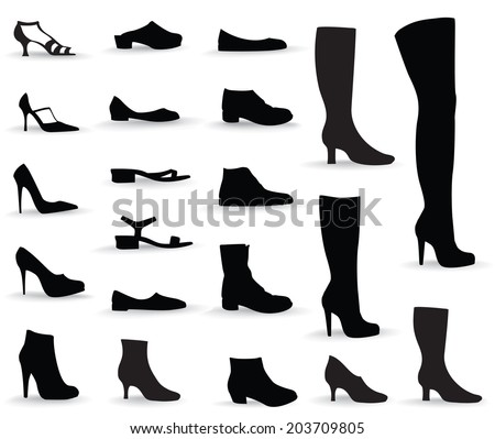 Shoes icon set Silhouettes collection