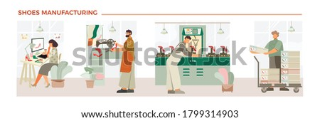 Shoes manufacturing process flat composition with designer shoemaker production control footwear shoeboxes ready for sale vector illustration  Foto stock ©
