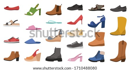 Shoes. Mens, womens and childrens footwear different types, trendy casual, stylish elegant glamour and formal shoes cartoon vector side view set Photo stock ©