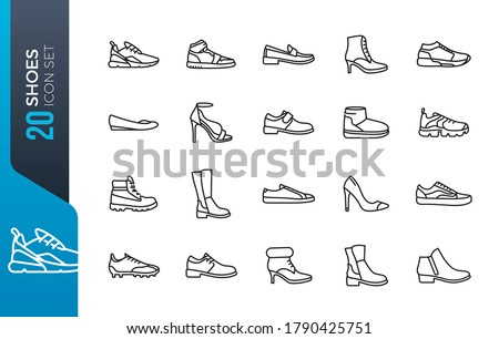 Shoes - minimal thin line web icon set. Outline icons collection. Simple vector illustration Foto stock ©