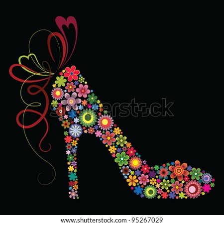 Shoes of flowers - stock vector