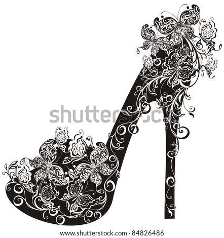 Shoes on a high heel decorated with flowers and butterflies. Vector illustration