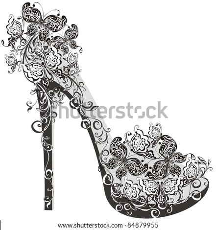 Shoes on a high heel decorated with flowers and butterflies Vector illustration of flowers high heel
