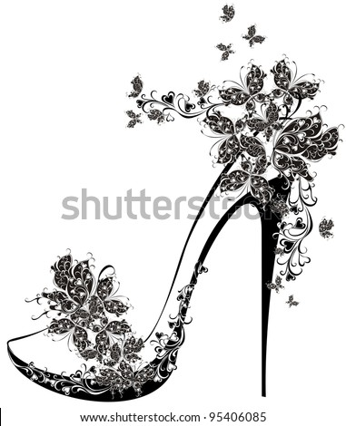Shoes on a high heel decorated with flowers and butterflies. Vector illustration of flowers high heel