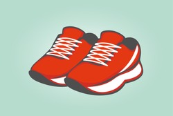 shoes. red sneakers. vector