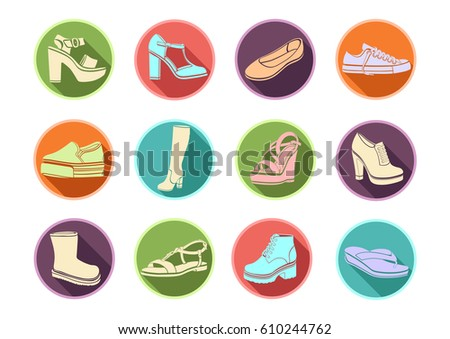 shoes set of vector flat icons