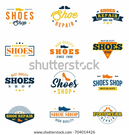 Shoes shop badges set. Colorful collection of various labels, logos for footwear stores, shop site  and repair . Vector
