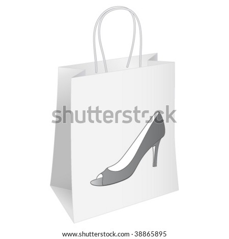 shoes, shopping bag - stock vector