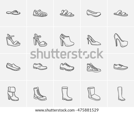shoes sketch icon set for web