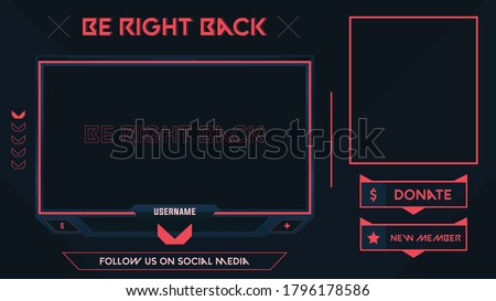 Shooter Game Minimalist Geometrical Design, Stream Be Right Back Background Orange and Black theme with Panel and Alerts, Vector Illustration