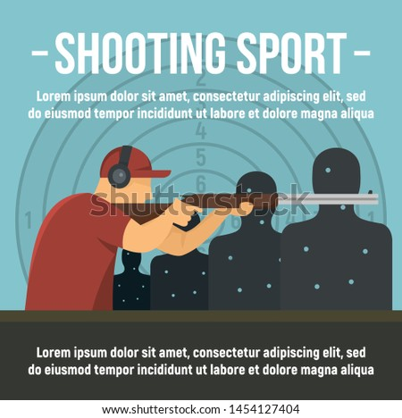 Shooting indoor sport concept banner. Flat illustration of shooting indoor sport vector concept banner for web design