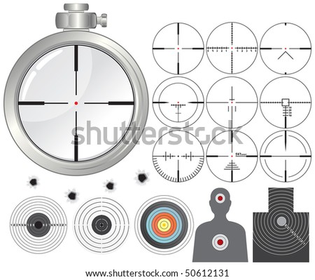 Shooting kit-targets cross-h airs dummies guns sight-separated vector objects