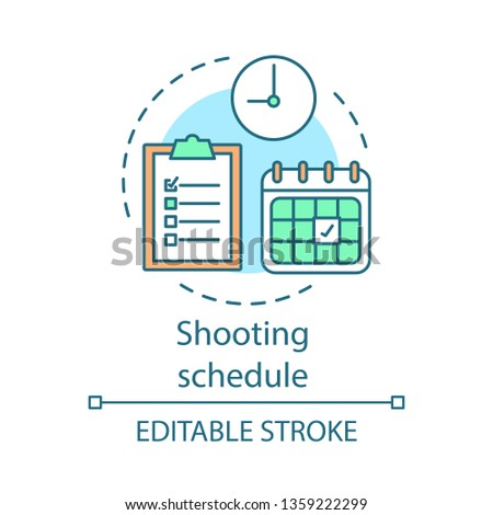 Shooting schedule concept icon. Video pre production idea thin line illustration. Movie production scheduling. Film shot planning. Time management. Vector isolated outline drawing. Editable stroke