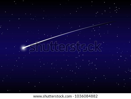 shooting star background against dark blue starry night sky, vector illustration