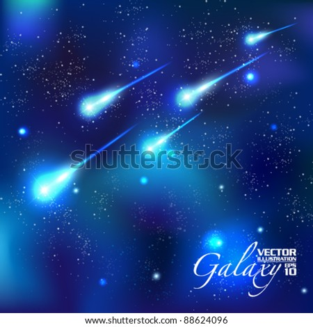 shooting stars in the starry night vector background