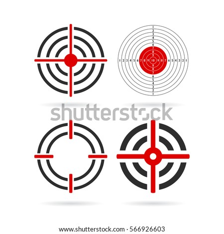 Shooting target vector icon set illustration isolated on white background. Gun target logo. Flat web design elements for website, app or infographics materials.