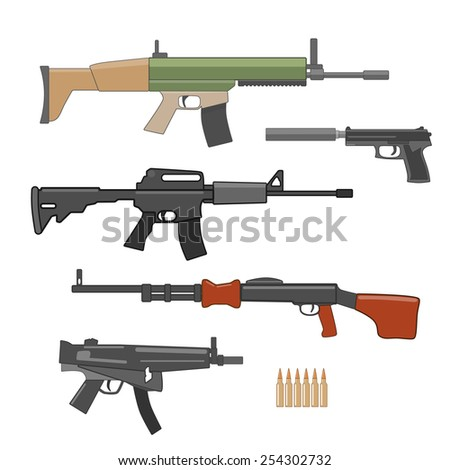 shooting weapons set vector