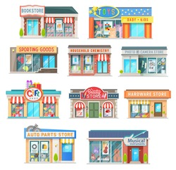 Shop and store building isolated vector icons of retail architecture. Book, auto parts, gifts and hardware shop, household chemistry, musical instruments and toys, sporting goods and beauty store